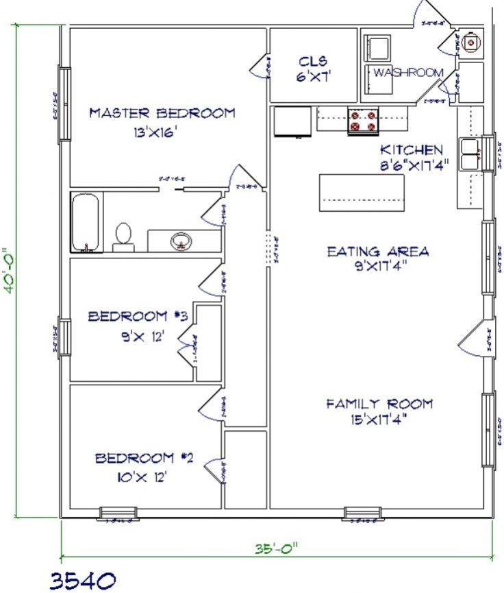 1400 sq. ft. Barndominium with 3 beds & 2 bathes Floor plan