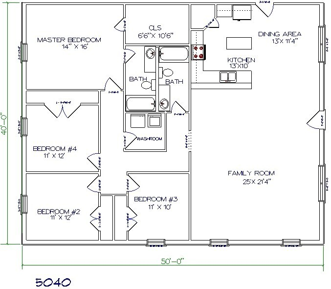 1750 Sq. Ft. Barndominium With 4 Beds & 2 Bathes Floor Plan