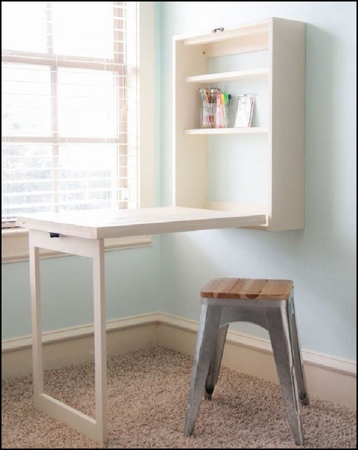 DIY Computer Foldout Desk For Small Space Saving